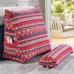 SunnyRain Cotton Linen Triangular Backrest <font><b>Cushion<