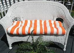 Cushion for Wicker Loveseat Settee ORANGE AND WHITE STRIPE O