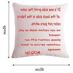 Cushion Printed Linen Family Affection Sofa Seat Home Decora