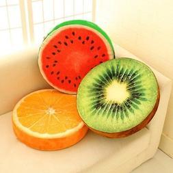 Cute Seat Pads Decor 3D Fruit Soft Round Pillow Orange Water