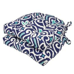 Pillow Perfect Damask Reversible Chair Pad, Set of 2, Blue/W