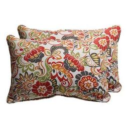 Decorative Multicolored Floral Rectangle Outdoor Toss Pillow
