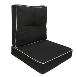 Deep Seat Back Rest Cushion Pillow Outdoor Pipe Trim S3 Blac