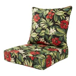 Deep Seat Patio Chair Cushion Pad Polyester UV Resistant Bla