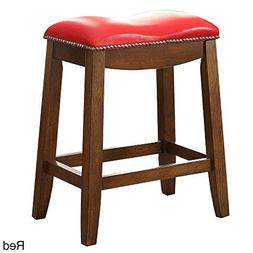 ACME Delta Red Faux Leather Counter Height Stool Set of 2