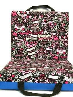 Double Bingo Seat Cushion - Breast Cancer Pattern - Blue