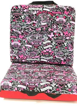 Double Bingo Seat Cushion - Breast Cancer Pattern - Red