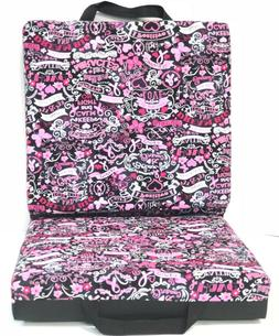 Double Bingo Seat Cushion - Breast Cancer Pattern - Black