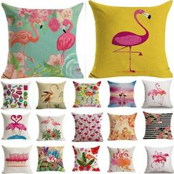 Flamingo Pattern Cotton Pillow Cushion Cover Seat Decoration