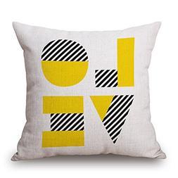 TOOGOO flax Throw Yellow Cushion Cover Pillow Case Home Sofa