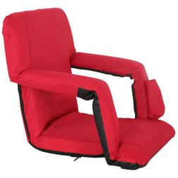 Folding Stadium Seat Red Bleacher Chair w/ Padded Backs Cush