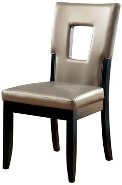 Furniture of America Helena Leatherette Keyhole Side Chair,