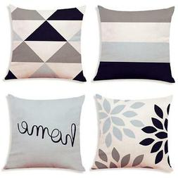 Decemter 4PCS Geometric Tree Leaf Throw Cushion Cover Cotton