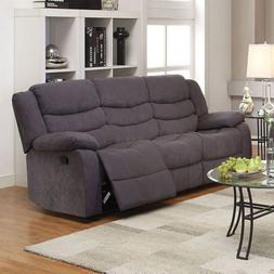 Gray Velvet Motion Sofa Set & Recliner Cushion Seat & Back 2