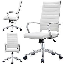 High Back Computer Desk Seat Adjustable Ribbed Leather Cushi
