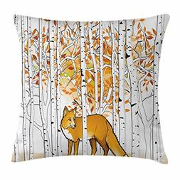 Ambesonne Hunting Decor Throw Pillow Cushion Cover, Fox Hunt