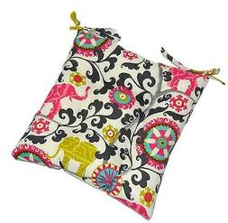 In Outdoor Foam Seat Cushion, Boho Pink Green Black Elephant