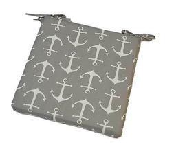 In / Outdoor Foam Seat Cushion w/ Ties - Gray / Grey White A