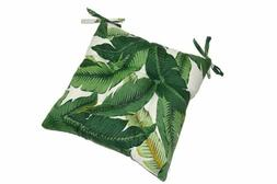 In/Outdoor Tufted Seat Cushion w/Ties Tropical Green Leaf -