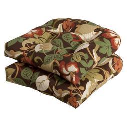 Pillow Perfect Indoor/Outdoor Brown/Green Tropical Wicker Se
