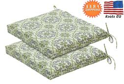 Bossima Indoor/Outdoor Green/Grey Damask Seat Pad, Set of 2,