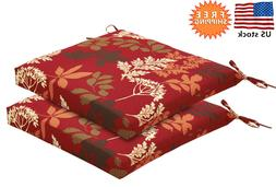 Bossima Indoor/Outdoor Red/Brown Floral Seat Pad, Set of 2