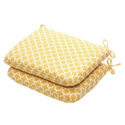 Pillow Perfect Indoor/Outdoor Yellow/White Geometric Round S
