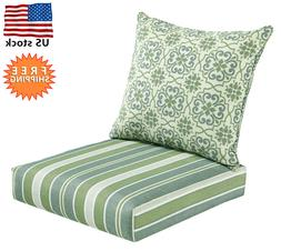 Bossima IndoorOutdoor GreenGrey DamaskStriped Deep Seat Chai