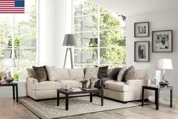 Ivory Chenille Contemporary Sectional Sofa Pillows Couch Plu