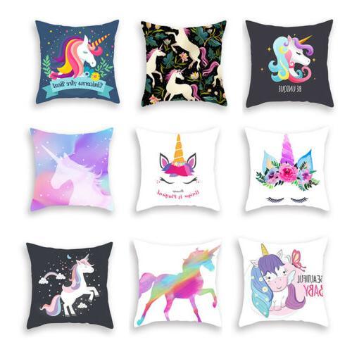 "17*17"" Cover Unicorn Pattern Pillowcase Car Seat"