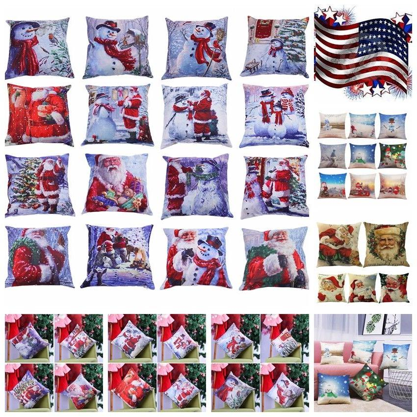 1x Christmas Throw Waist Pillow Case Cushion Cover Sofa Car
