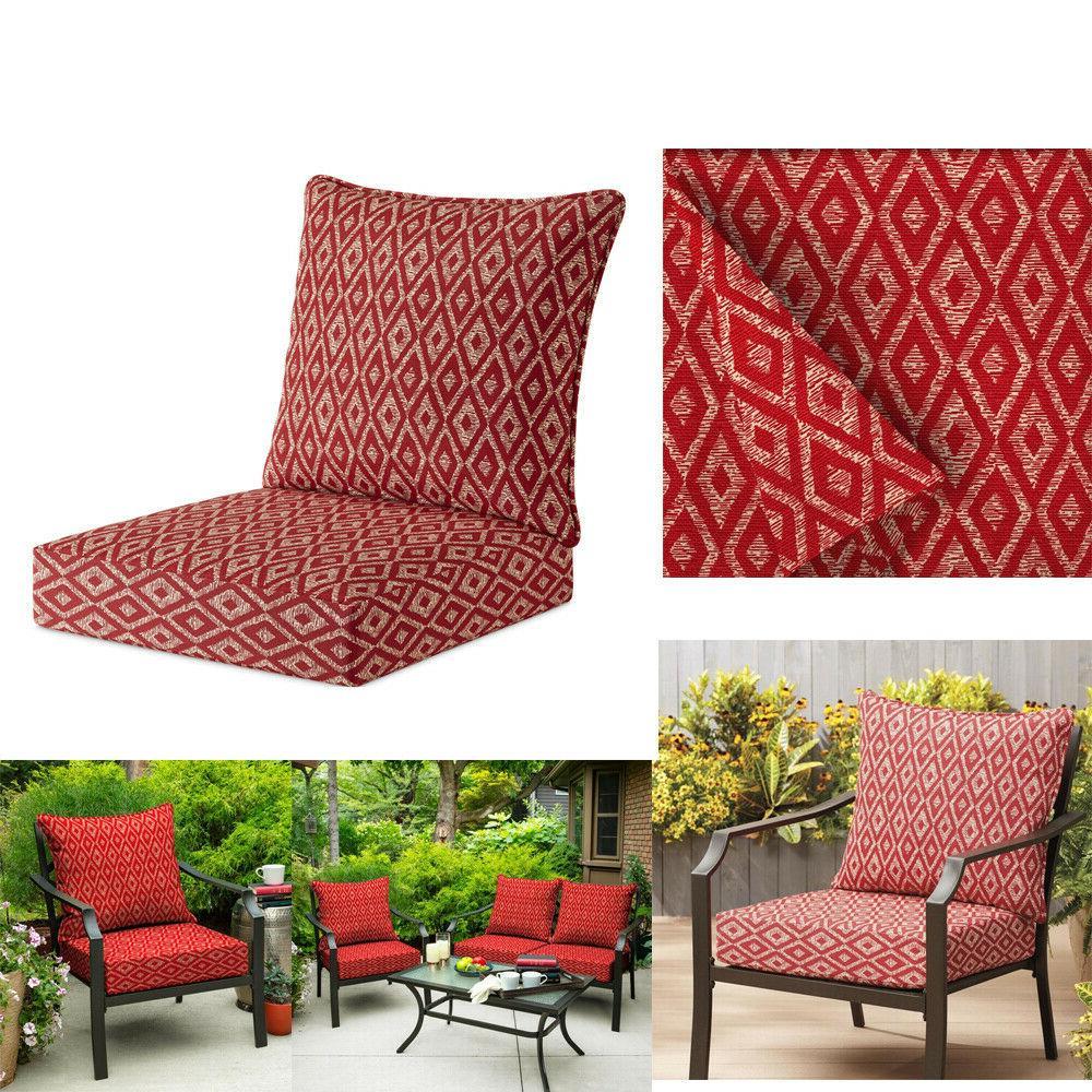 2pc ruby red deep seat cushion set
