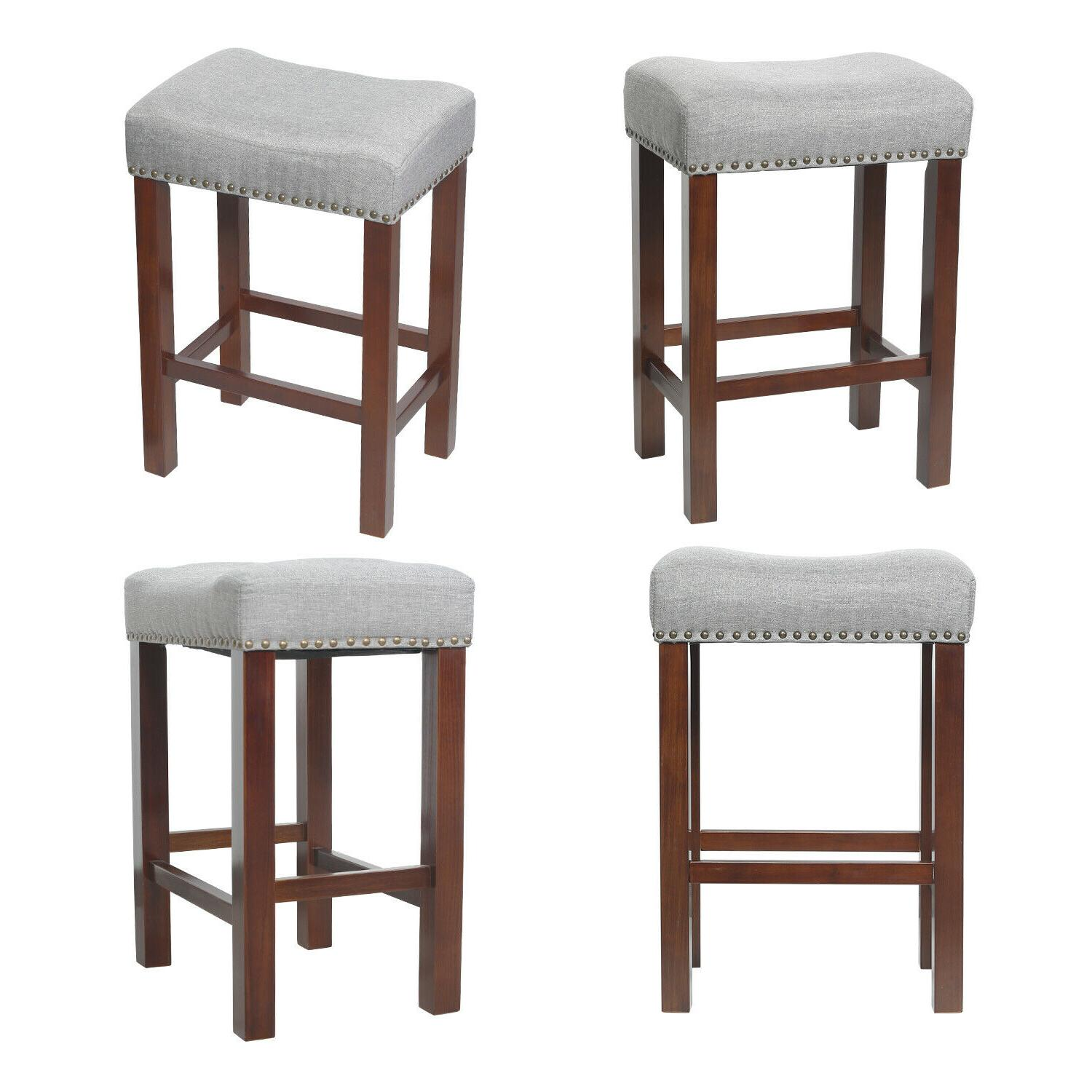 "30"" Set 2 Bar Stools Room Padded Cushion"