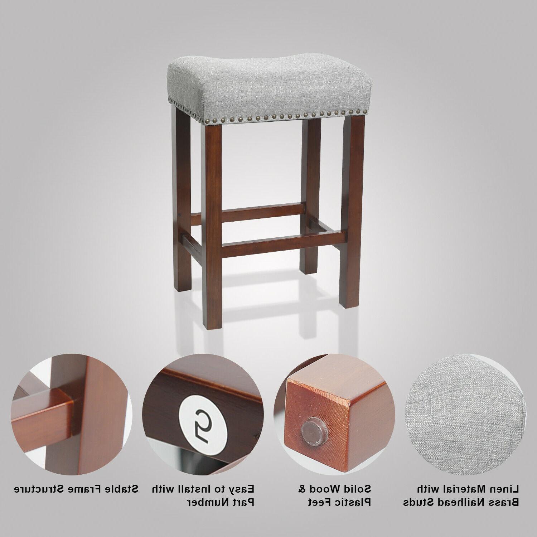"""Set 2 Stools Kitchen Dining Saddle Seat Linen Cushion 24"""""""