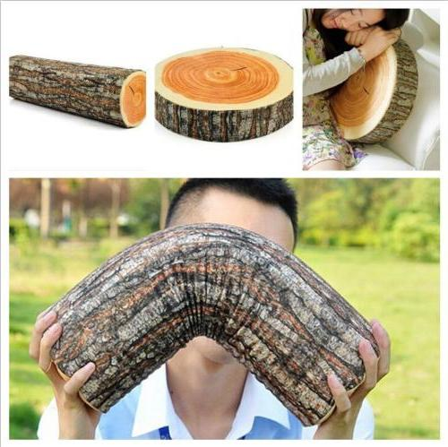 3D Wood Design Log Couch Chair Sofa Throw Pillow Soft Cushio
