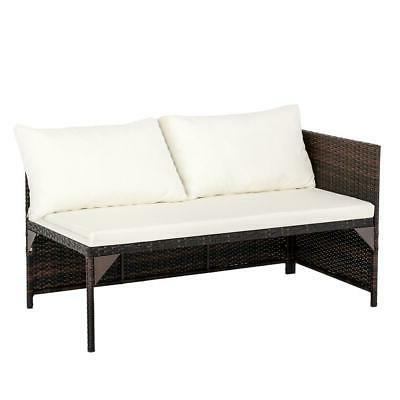3PCS Patio Set Sofa Table Set /w Cushion Seat PE Wicker