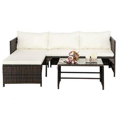 3PCS Patio Furniture Set Lawn Sofa Set PE Wicker US