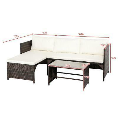 3PCS Rattan Set /w Cushion PE US
