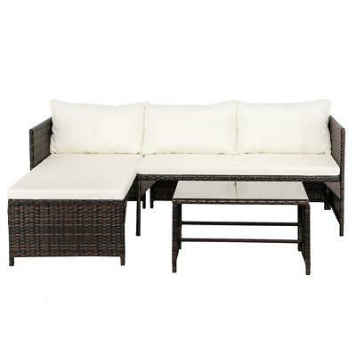 3PCS Rattan Patio Set Sofa Table Set /w PE Wicker US