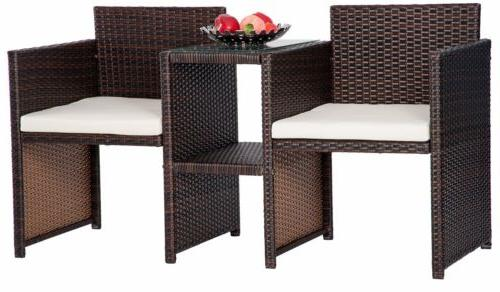 3pcs Rattan Furniture Table and Two Chairs Garden Outdoor Seat