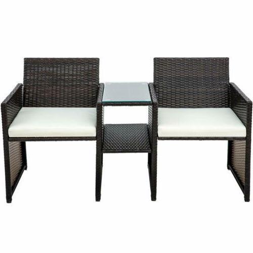 3pcs Furniture Table Two Garden Seat