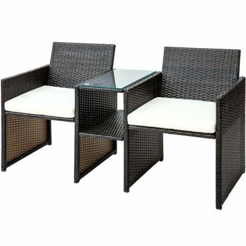 3pcs Rattan Table and Two Garden Cushion Seat
