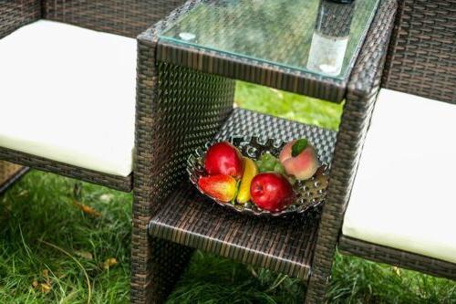 3pcs Rattan Set Table Two Chairs Garden Seat