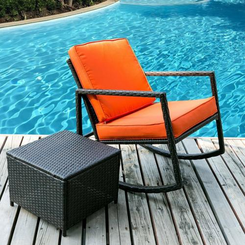3pcs rattan set furniture table and two