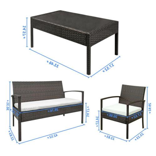 4 Patio Furniture Sofa Cushioned Seat Wicker