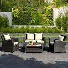 4 PCS Brown Wicker Outdoor Patio Furniture Set Garden Lawn S