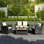 4 Piece Brown Wicker Outdoor Patio Seat Sofa Furniture Set W