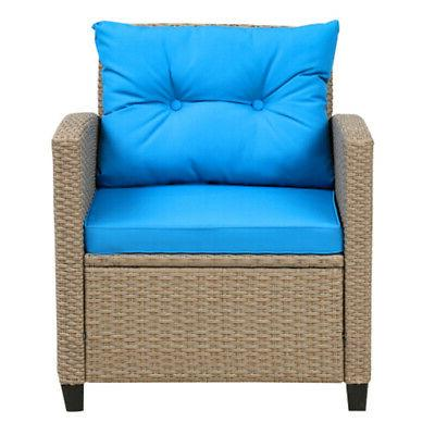 4pcs Patio Rattan Sectional Sofa Set w/Seat Cushion