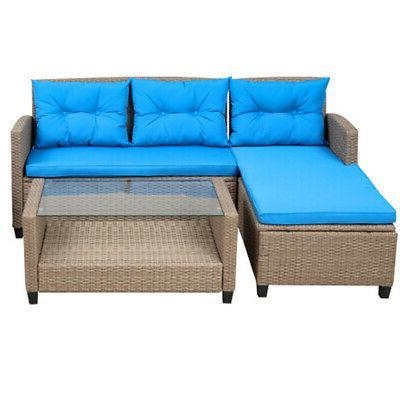 4pcs Rattan Wicker Outdoor Sofa