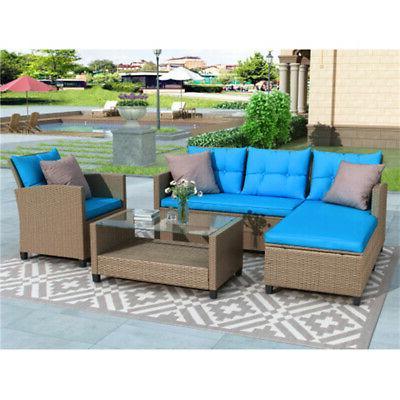 4pcs Patio Rattan Sectional Sofa w/Seat Cushion